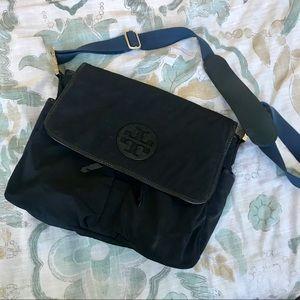 Tory Burch black nylon baby diaper messenger bag